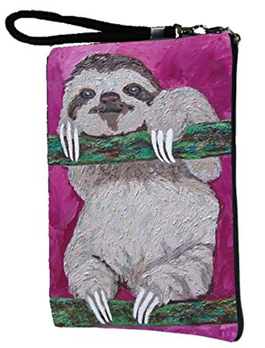 Sloth Large Vegan Wristlet, Pencil Bag, Cosmetic Bag - From My Original Paintings - Support Wildlife Conservation