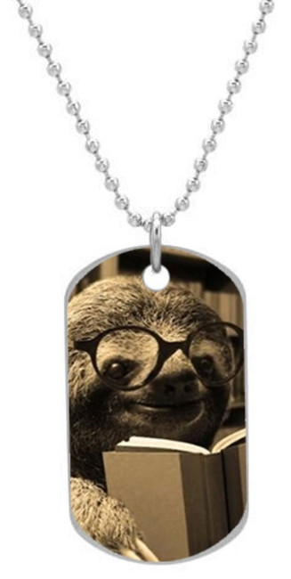 Book Reading Nerd Sloth Dog Tag