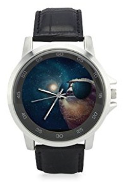 Galaxy Space Hipster Sloth - Leather Watch