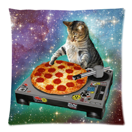 Funny Dj Pizza Cat Pillow Case