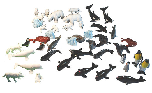44 Piece Polar Friends Set - Miniature Penguin Toys