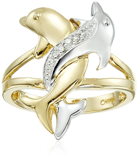 Gold Intertwined Dolphin Ring Jewelry