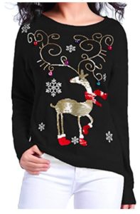 Shiny Reindeer Ugly Sweater