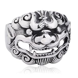 Stainless steel asian style lion ring