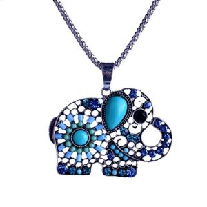 Paved crystal and bead elephant silver tone pendant