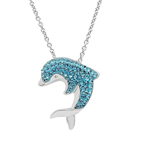 Blue Crystal Dolphin Pendant Jewelry