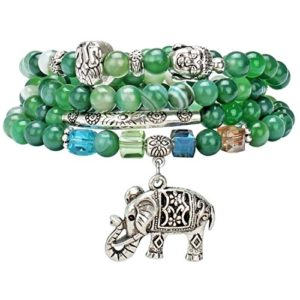 elephant charm on green beaded buddha mala bracelet