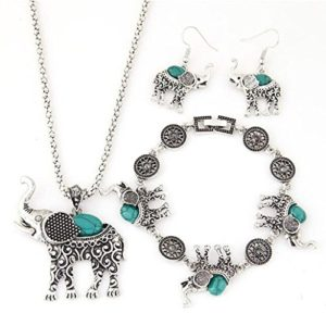 Elephant necklace, bracelet and earrings set with turquoise accents