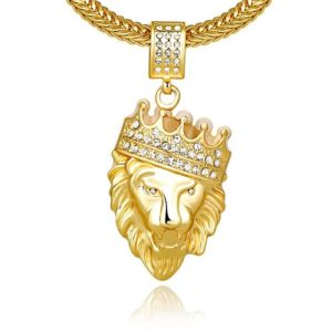 lion head pendant with crown