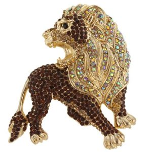 Roaring lion crystal covered brooch