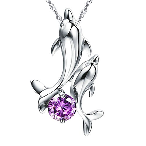 Silver Purple Jewel Dolphin Pair Necklace