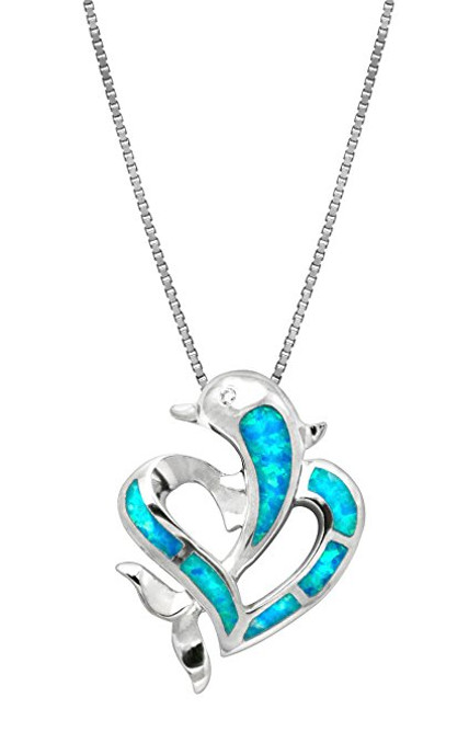 Clear Blue Dolphin Necklace