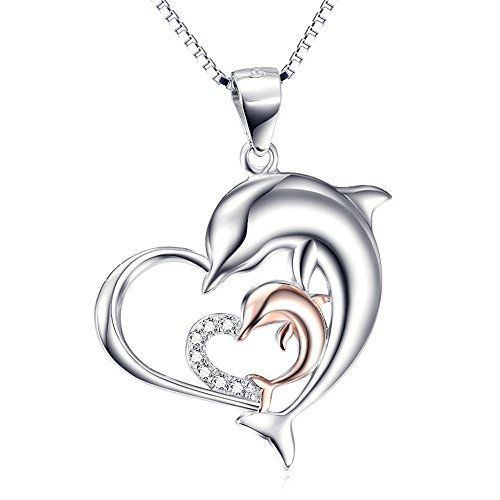 Double Heart Dolphin Pendant Necklace