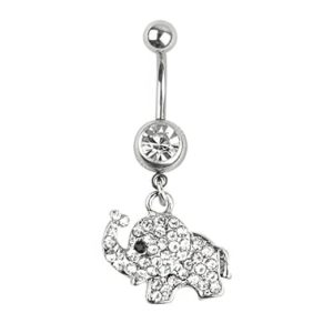 Steel rhinestone dangle belly button ring