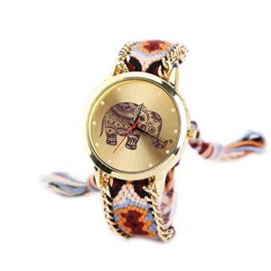 Women's rope band elephant pattern wrist watch