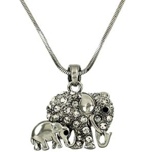 Mom and baby elephant silver pendant necklace