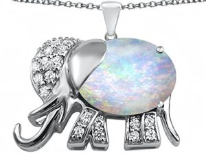 Sterling silver elephant pendant with gemstone
