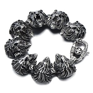 two tone black silver lion head bracelet