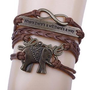 Handmade elephant bracelet leather