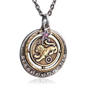 silver gold tone leo astrology pendant