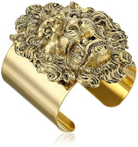 gold plated lion head cuff bracelet
