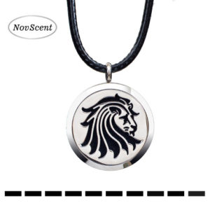 Tattoo style lion design aromatherapy necklace