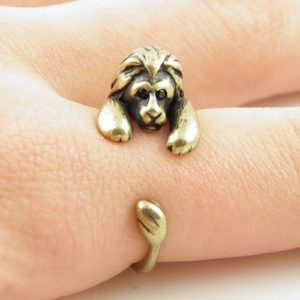 silver tone lion animal wrap ring