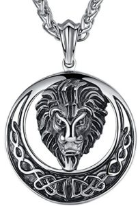 stainless steel large lion head biker pendant