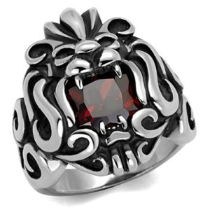 stainless steel ring with red cz jewel