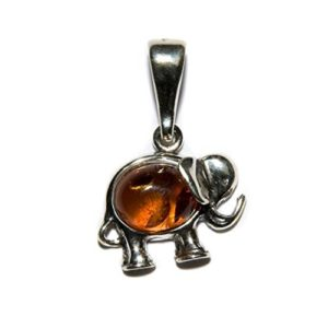 Small cute amber and silver elephant pendant