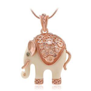 elephant pendant necklace rose gold