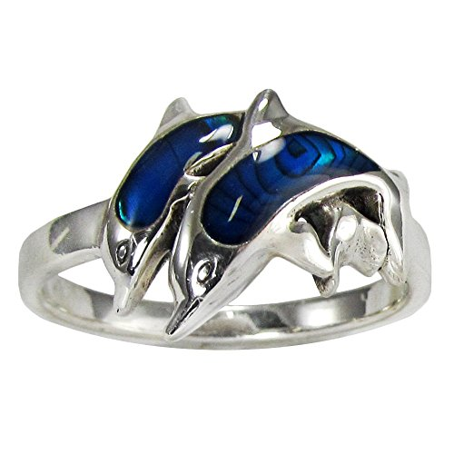 Silver & Blue Dolphin Ring Jewelry