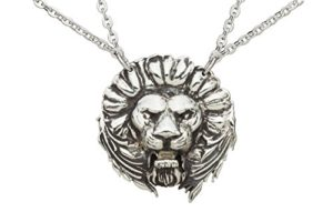 silver plated lion pendant