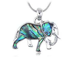 Abalone colored elephant pendant