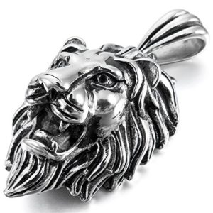 men's stainless steel lion head pendant