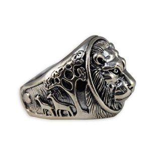 solid sterling silver lion head ring