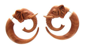 hand carved wood elephant earrings