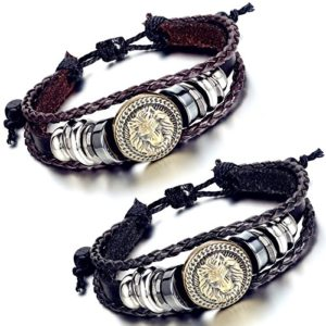 bronze lion head braided leather bracelet