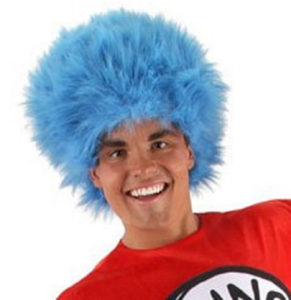 Cat In The Hat Blue Afro Dress Up Wig