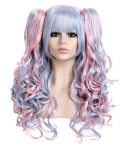 Cosplay Two Pony Tails Dress Up Wig