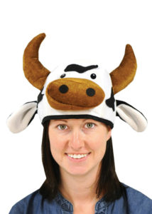 plush cow costume hat