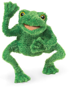 cute long legged frog hand puppet toy