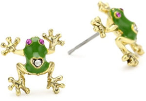 green frog earrings