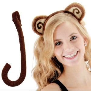 monkey ear and tail costume set
