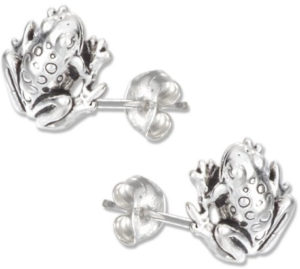 silver frog stud earrings jewelry