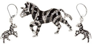 zebra brooch set earrings