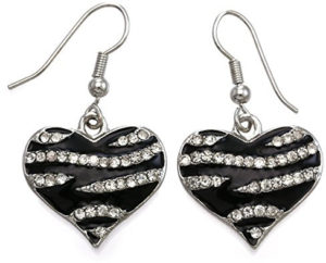 zebra heart earrings