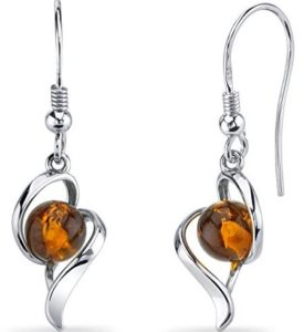 orange amber earrings