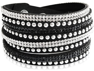 Black bling bracelet for women