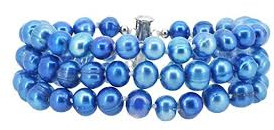 Knotted blue freshwater pearl bracelet